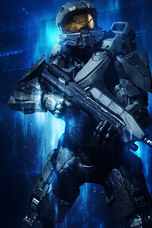 Blue halo master chief 4 wallpaper 24152 640x960