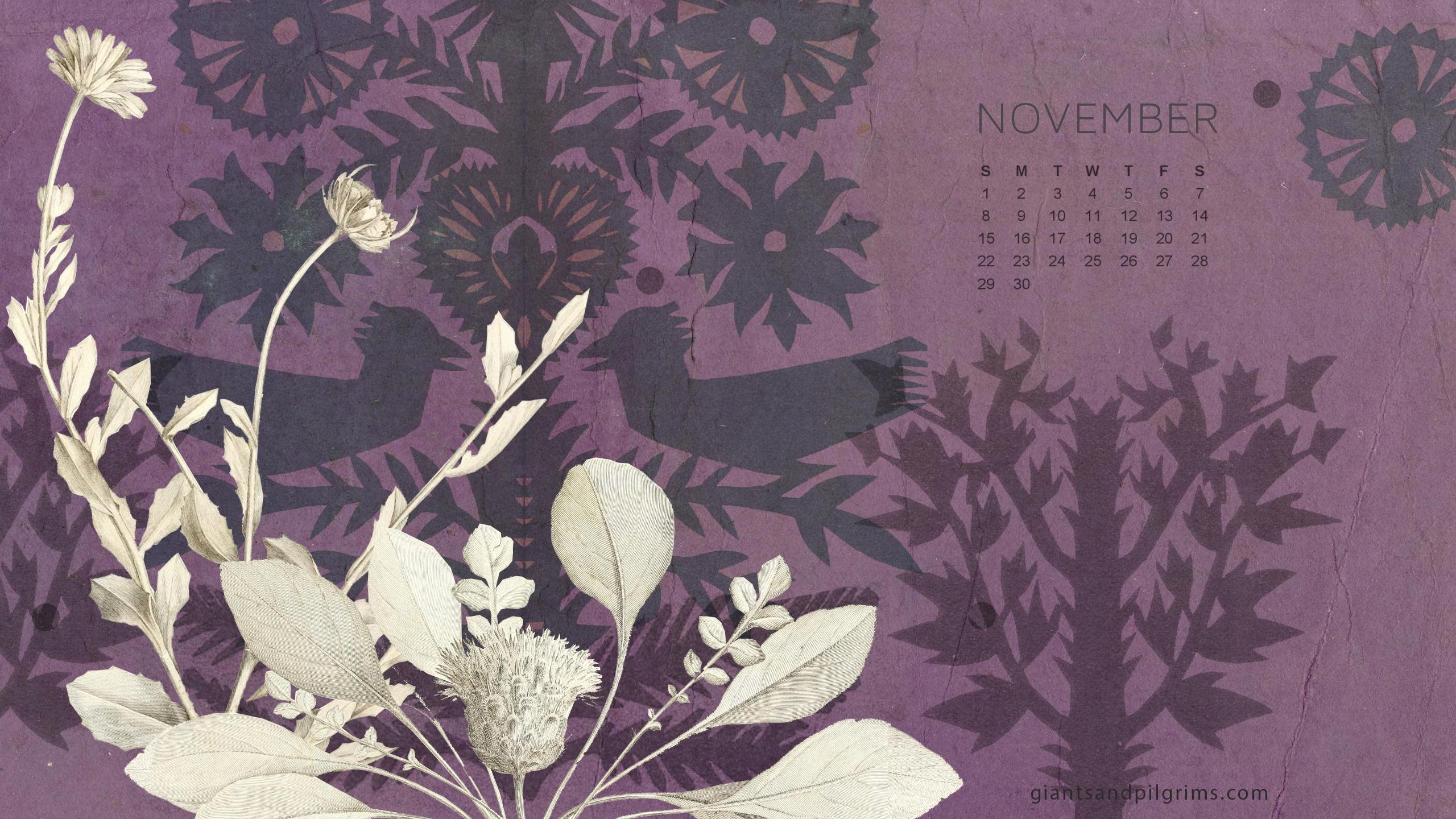 November Calendar Desktop and iPhone Wallpaper Giants 2560x1440