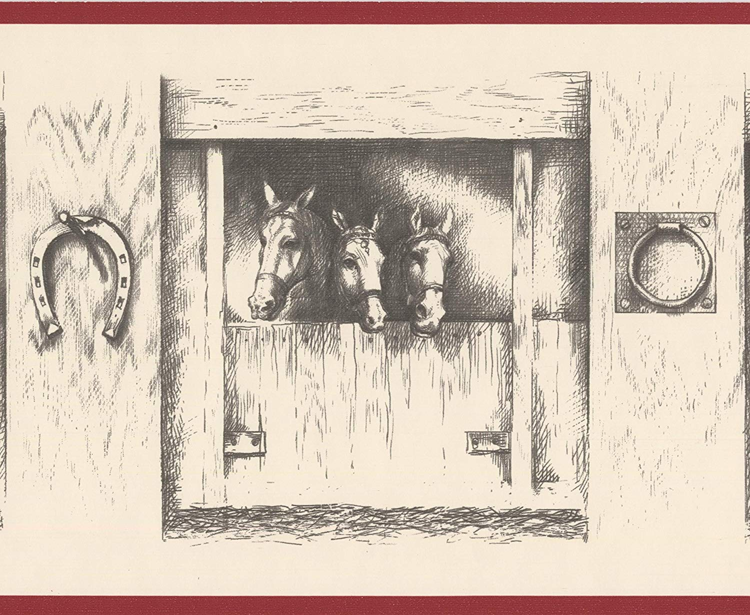 Vintage Black and White Horses in Stable Farmhouse Wallpaper 1500x1231