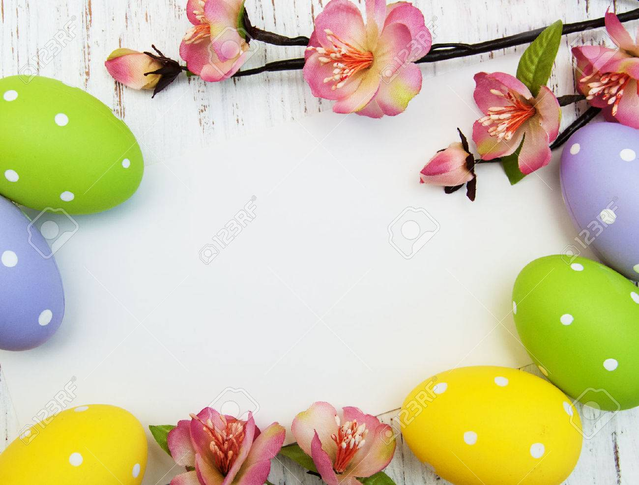 Easter Background With Easter Eggs And Flowers Stock Photo 1300x987