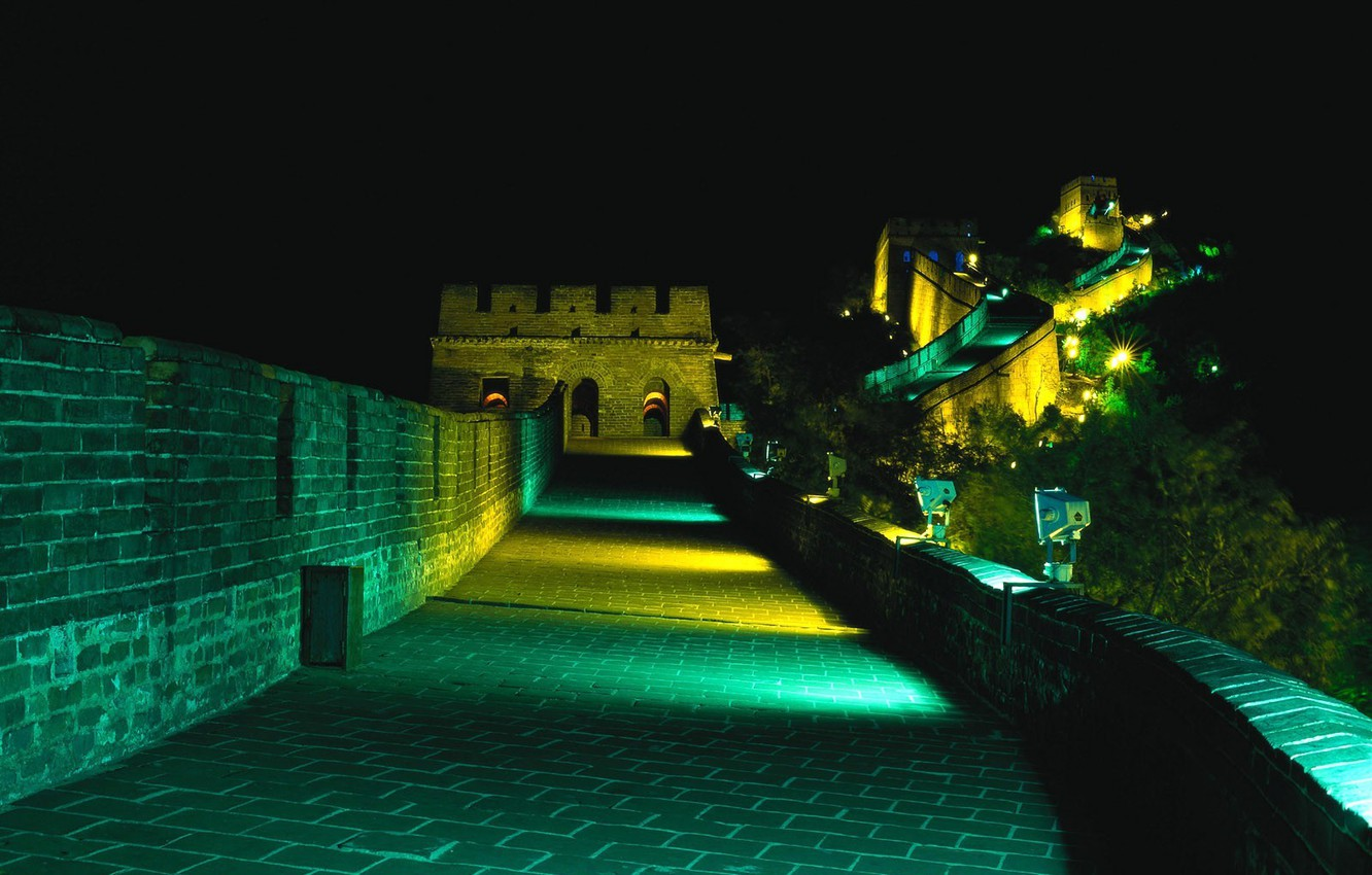Wallpaper Night Backlight The Great Wall Of China images for 1332x850