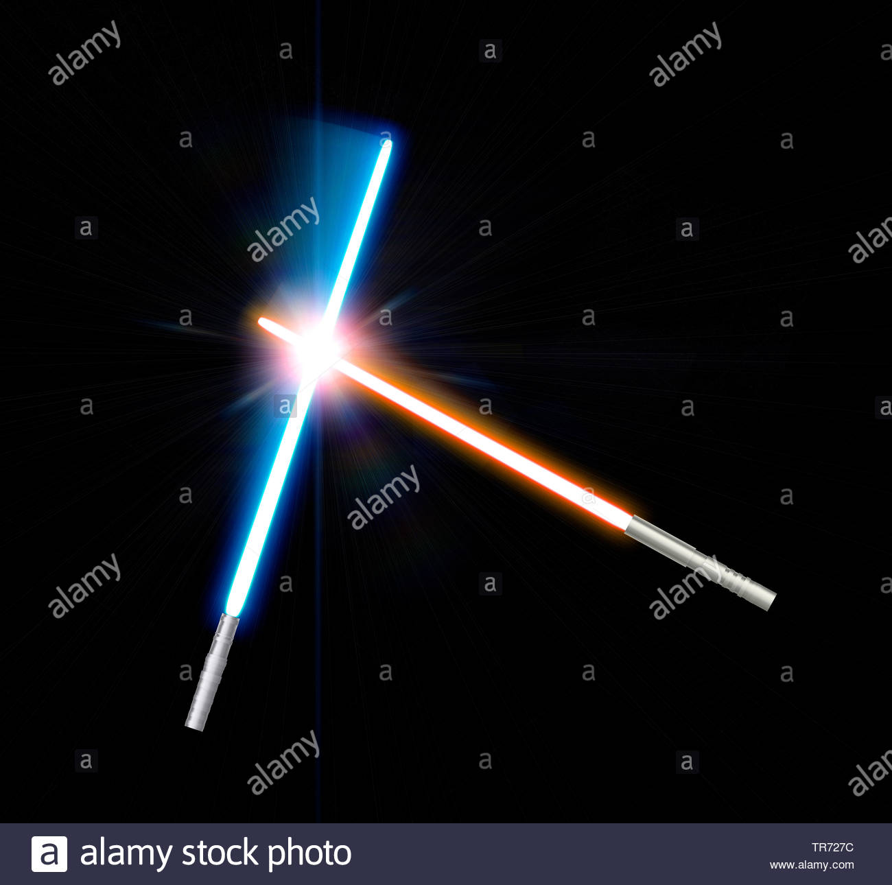 3D computer graphic red and blue lightsaber against black 1300x1290