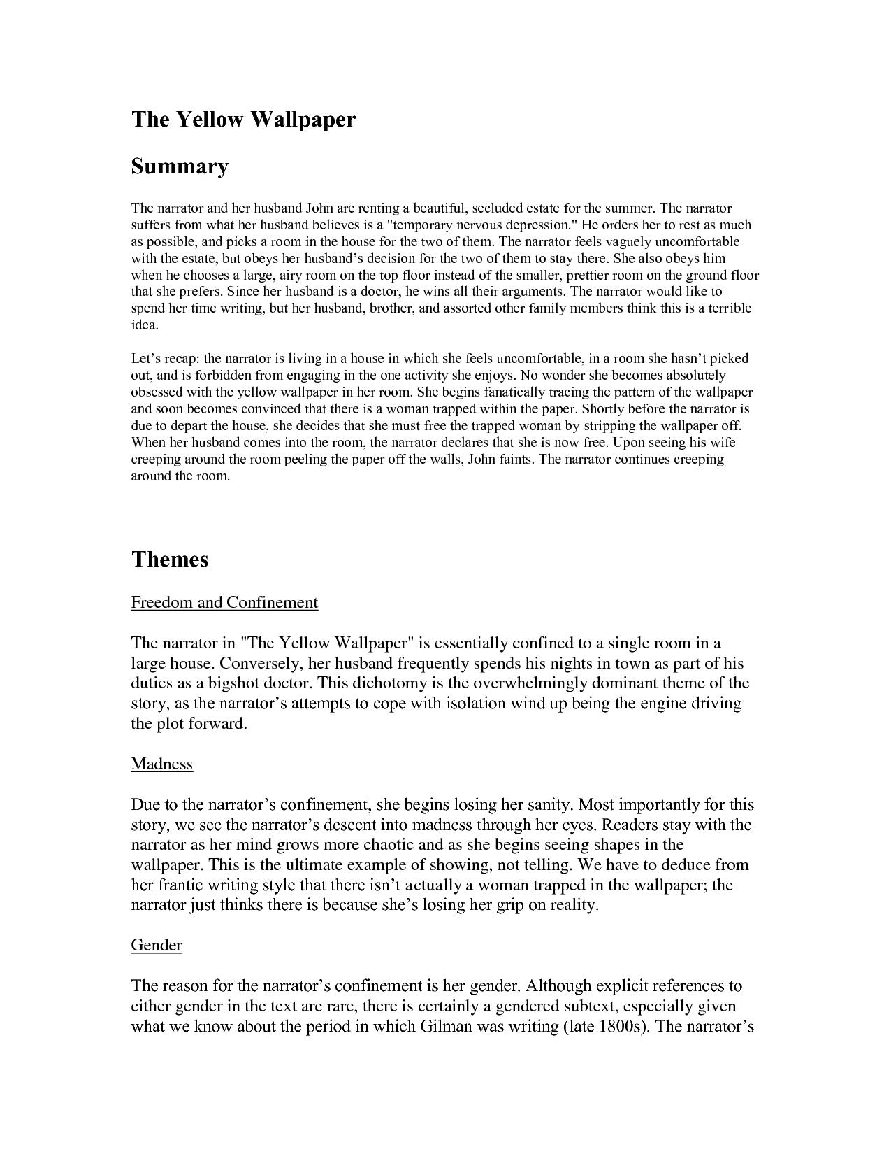 Yellow Wallpaper Sample Essay 1275x1650
