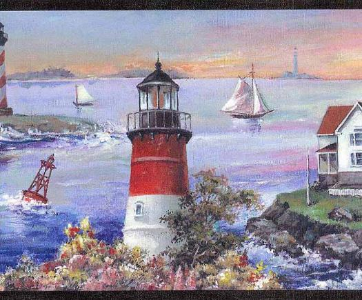 Rustic Charm Lighthouse Wallpaper Border PatternRC005144B 525x435