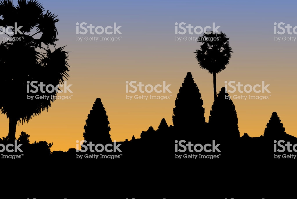 Vector Silhouette Of Angkor Wat Temple In Cambodia With Orange 1024x686