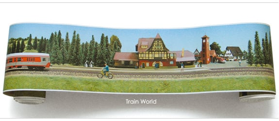 wallpaper border   Train World 575x250