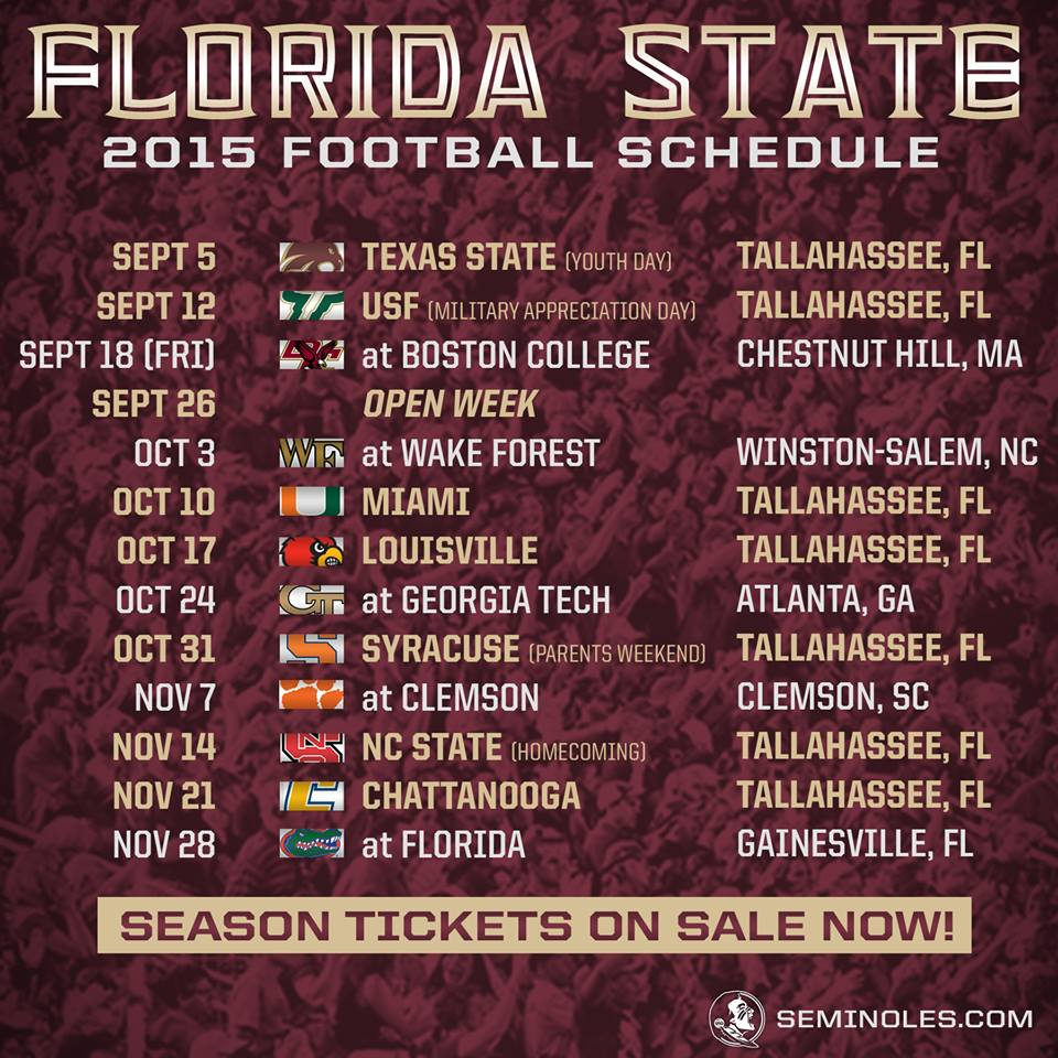 TALLAHASSEE FL The 2015 Florida State Seminoles will face seven 960x960