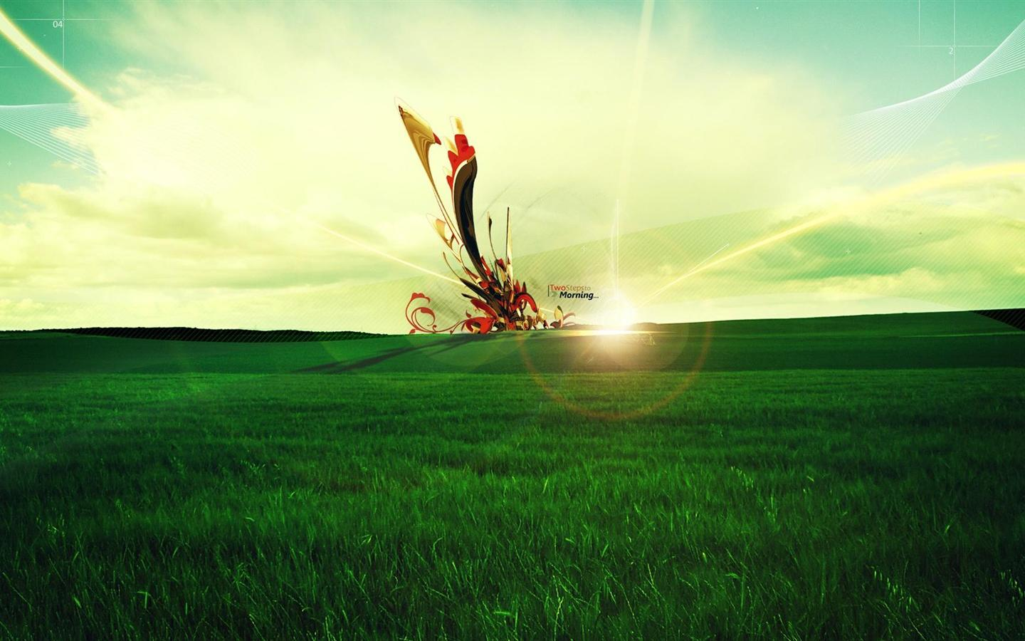 1440x900 Hd Green Field With Bright Light Desktop Backgrounds 1440x900