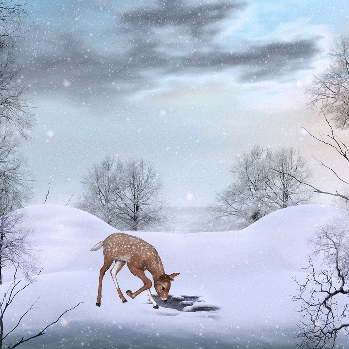 Cute Winter Background with Deer 1200x1200