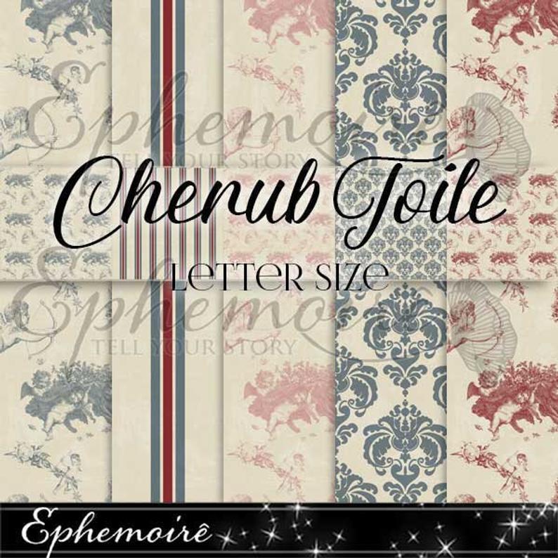 Vintage Cherub Digital Paper Backgrounds CHERUB TOILE Etsy 794x794
