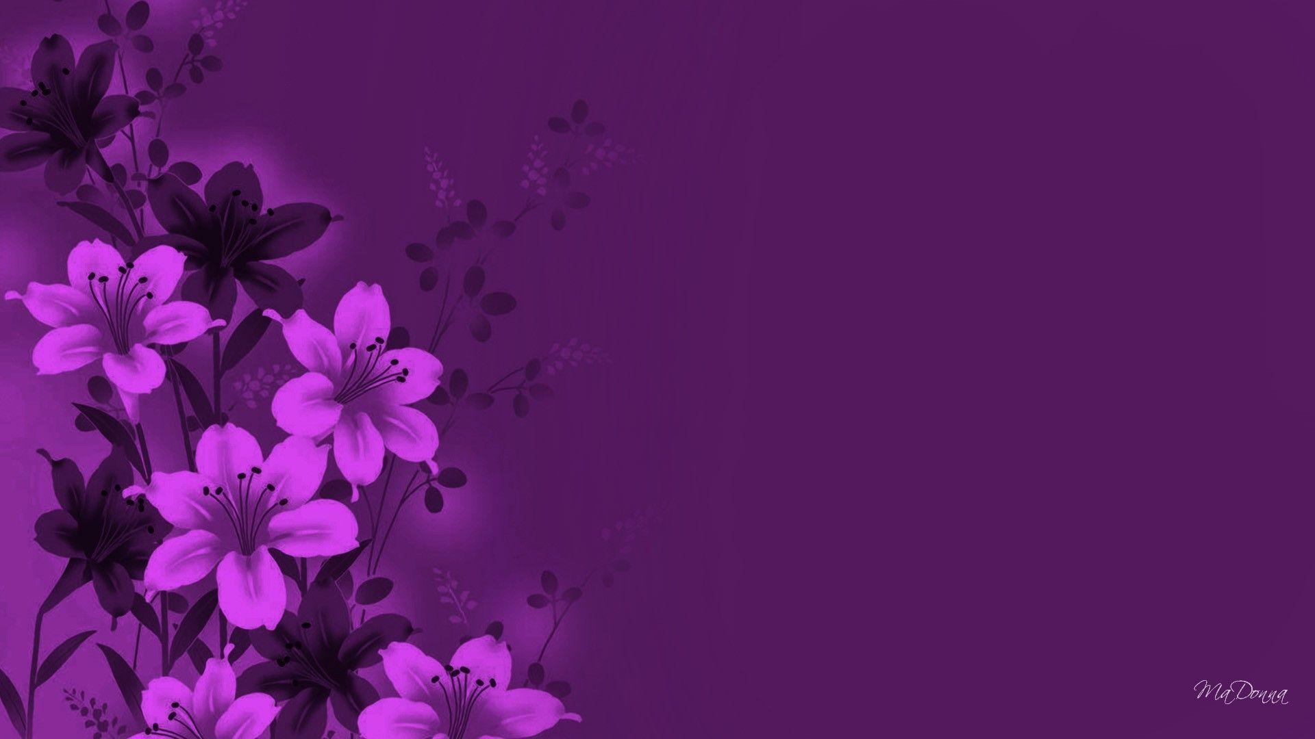 Фиолетовый фон с цветами фото