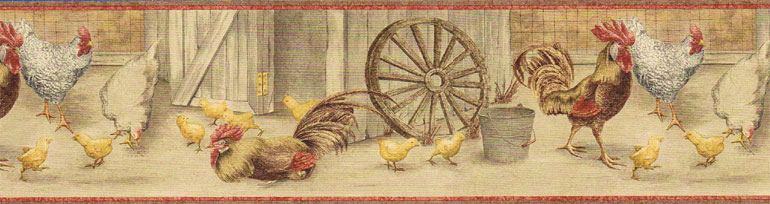 Details about ROOSTERS HEN CHICKEN Wallpaper Border CJ80034B 770x204