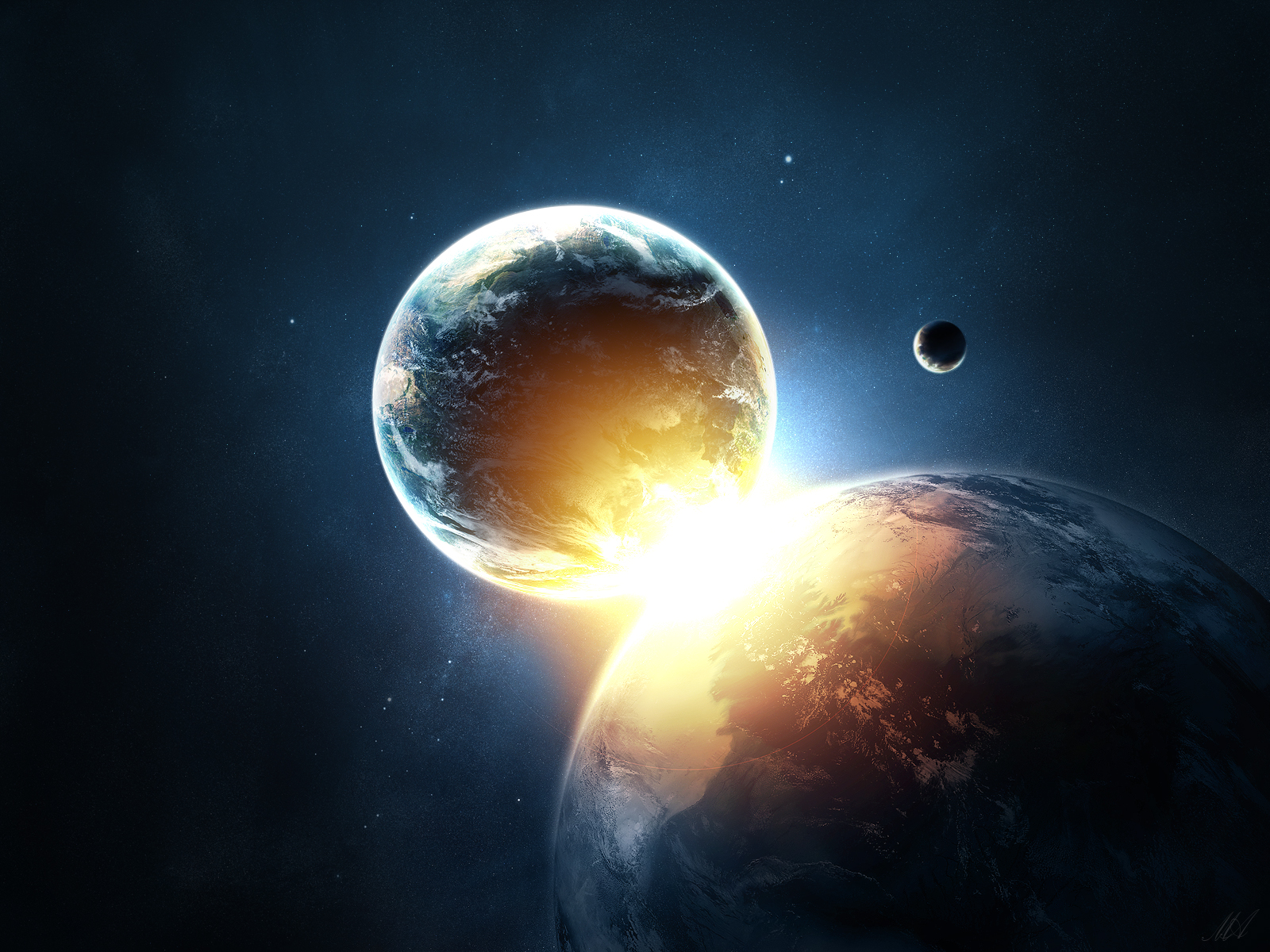 Planets Collide Wallpapers HD Wallpapers 1600x1200