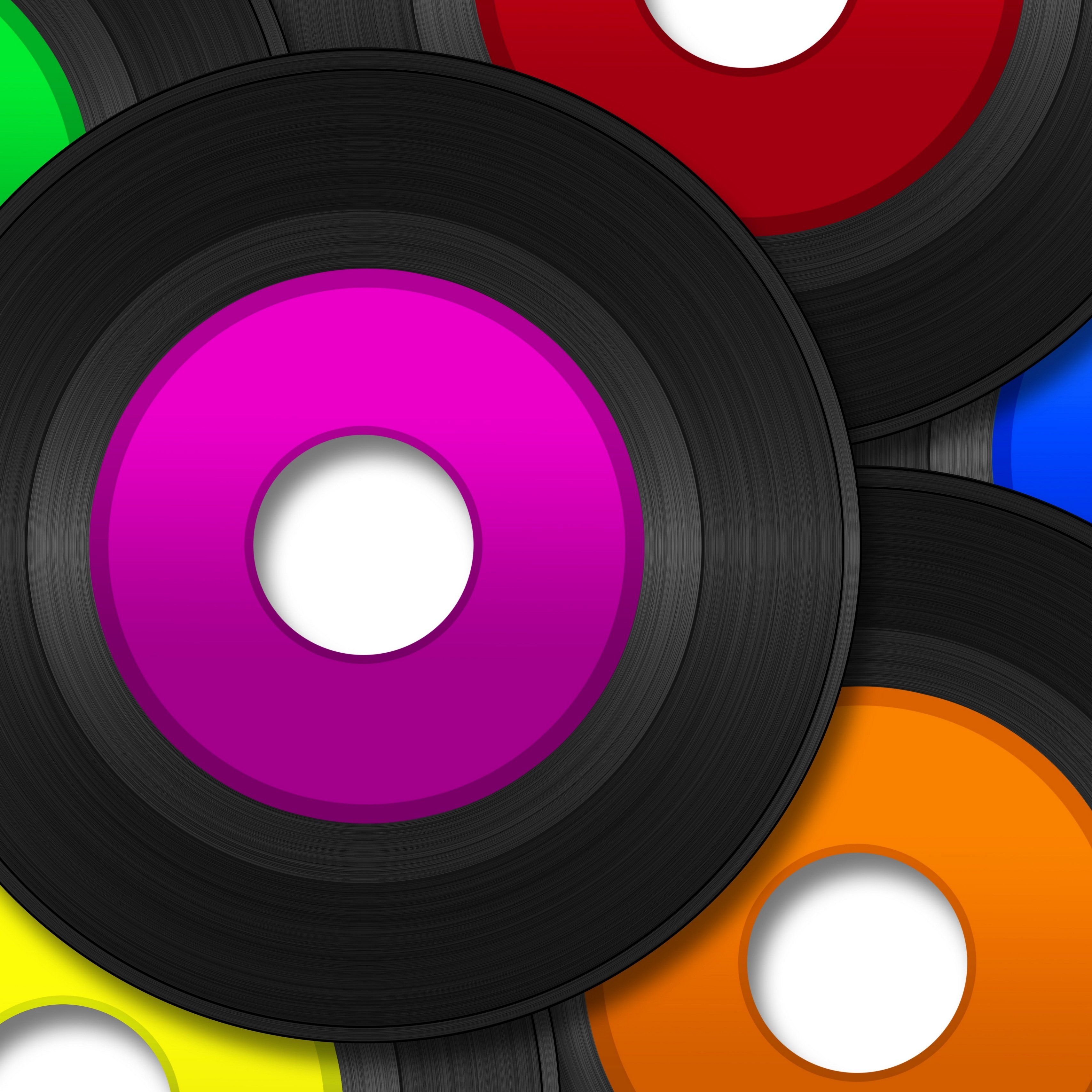 Download wallpaper 3415x3415 vinyl record music vector heap 3415x3415