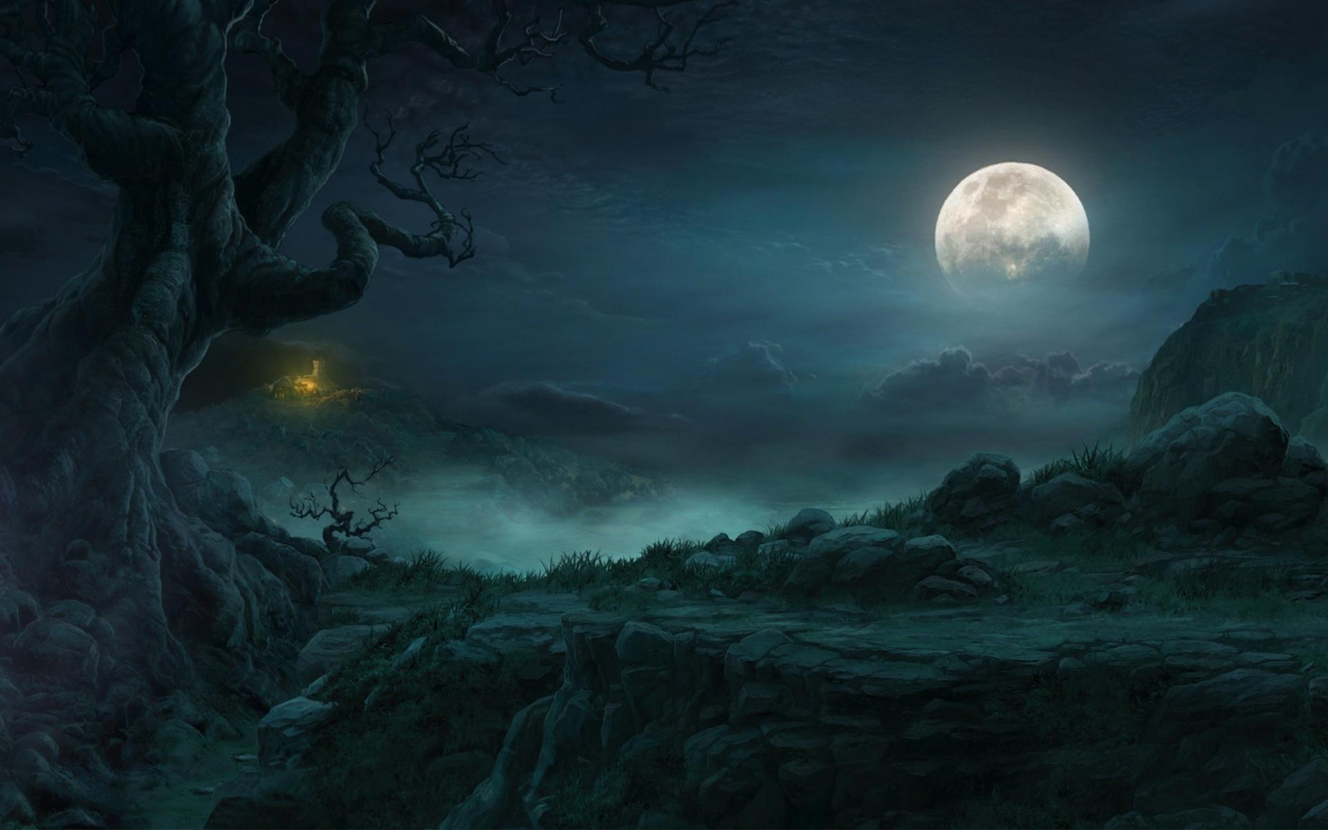 Good night beautiful full moon on sky HD Wallpapers Rocks 1920x1200