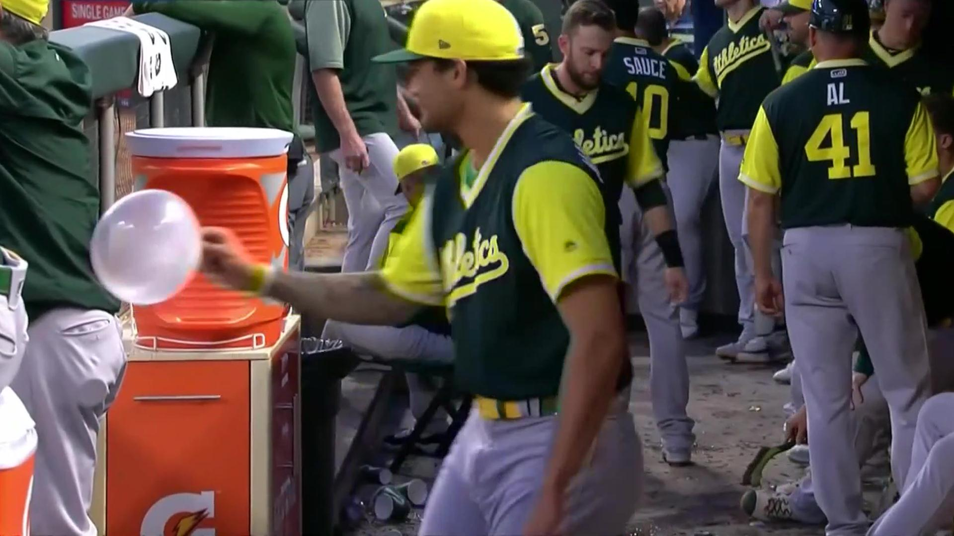 Sean Manaea plays with huge bubble of gum in As dugout NBCS Bay 1920x1080