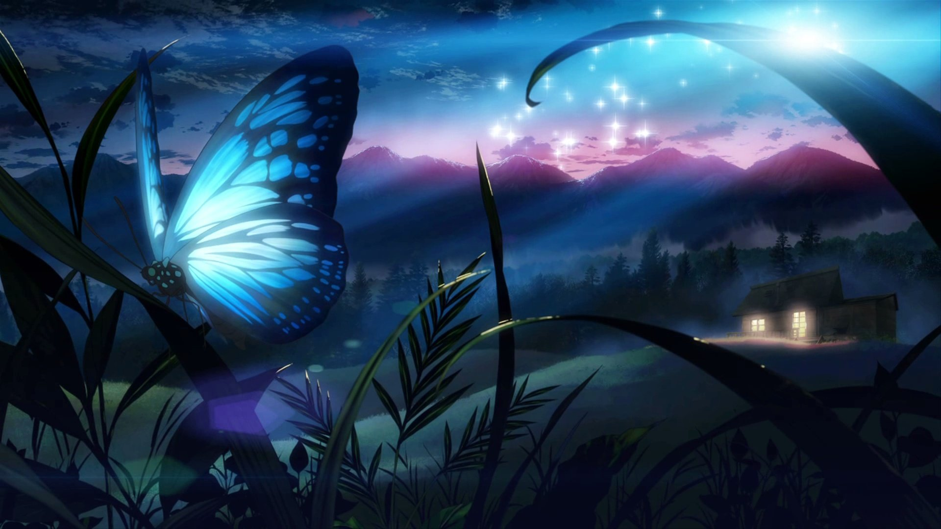 Butterfly eden grass night tree original fantasy wallpaper 1920x1080