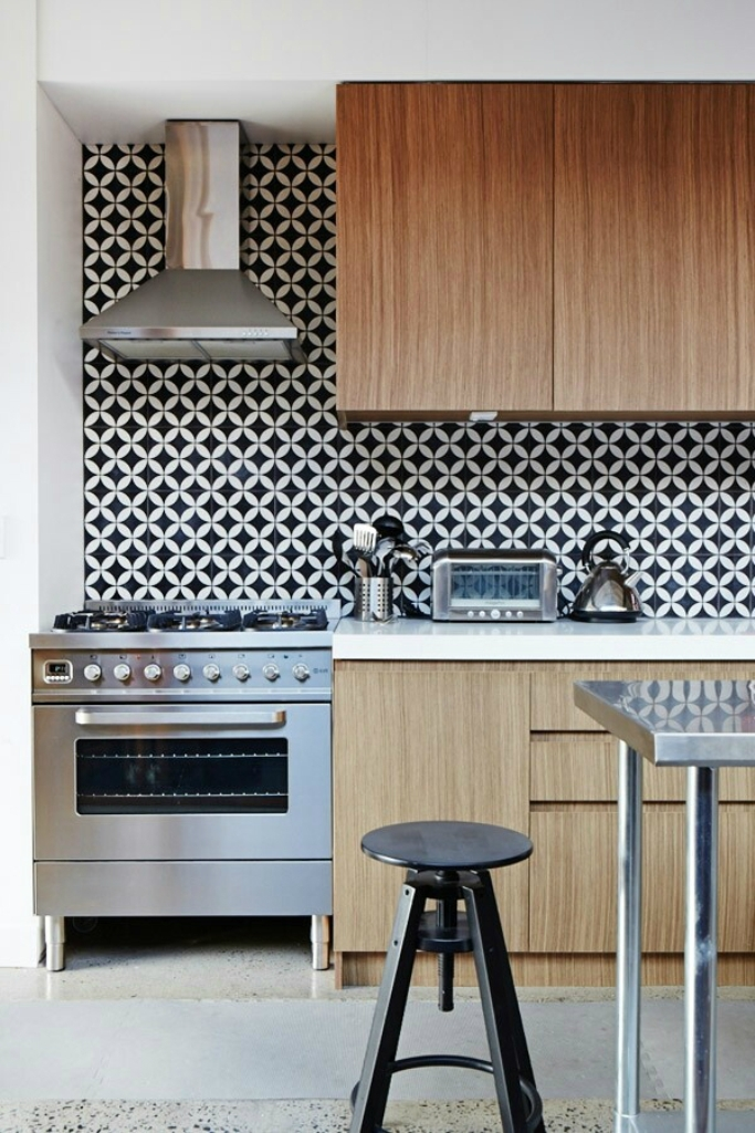 Modern kitchen with black and white geometric wallpaper 683x1024