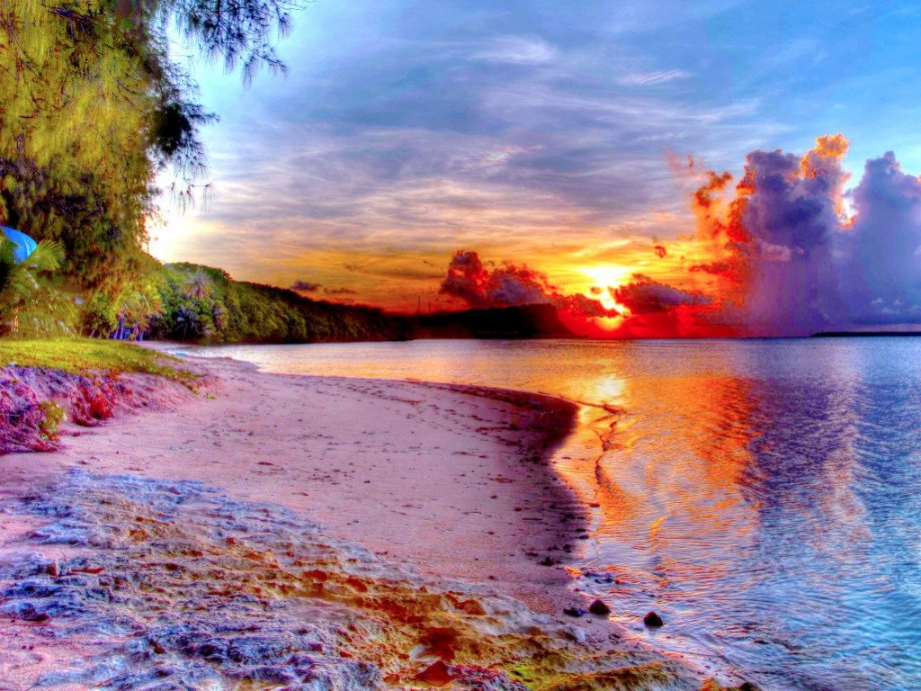 Beautiful Beach Sunset | One HD Wallpaper Pictures Backgrounds FREE ...