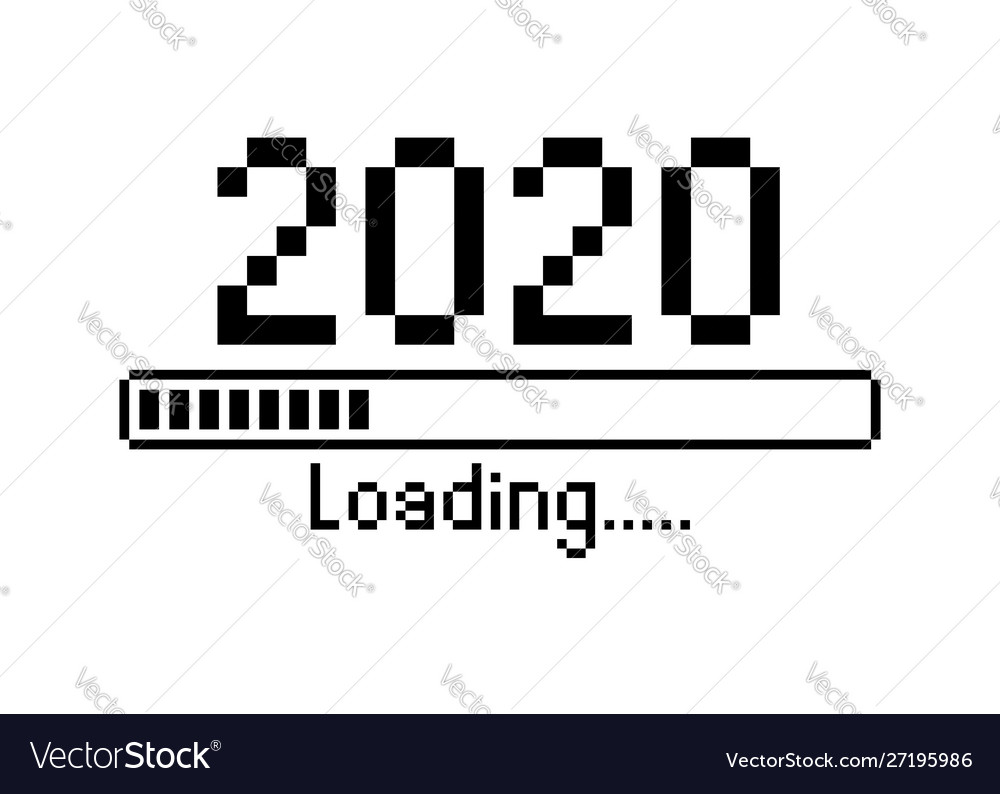 Happy new year 2020 with loading icon pixel art Vector Image 1000x794