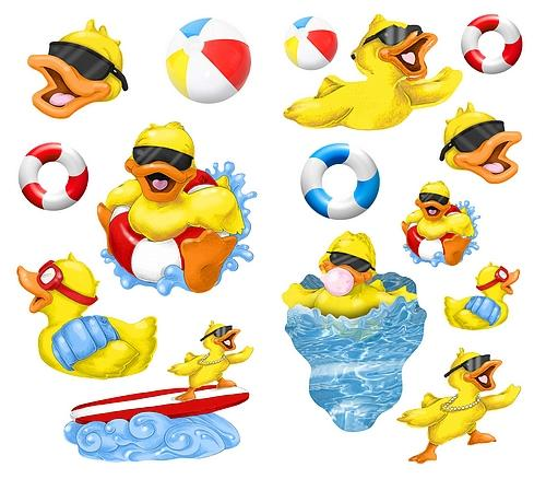 Home Bath Splish Splash Rubber Ducks Wall Stickers 500x438