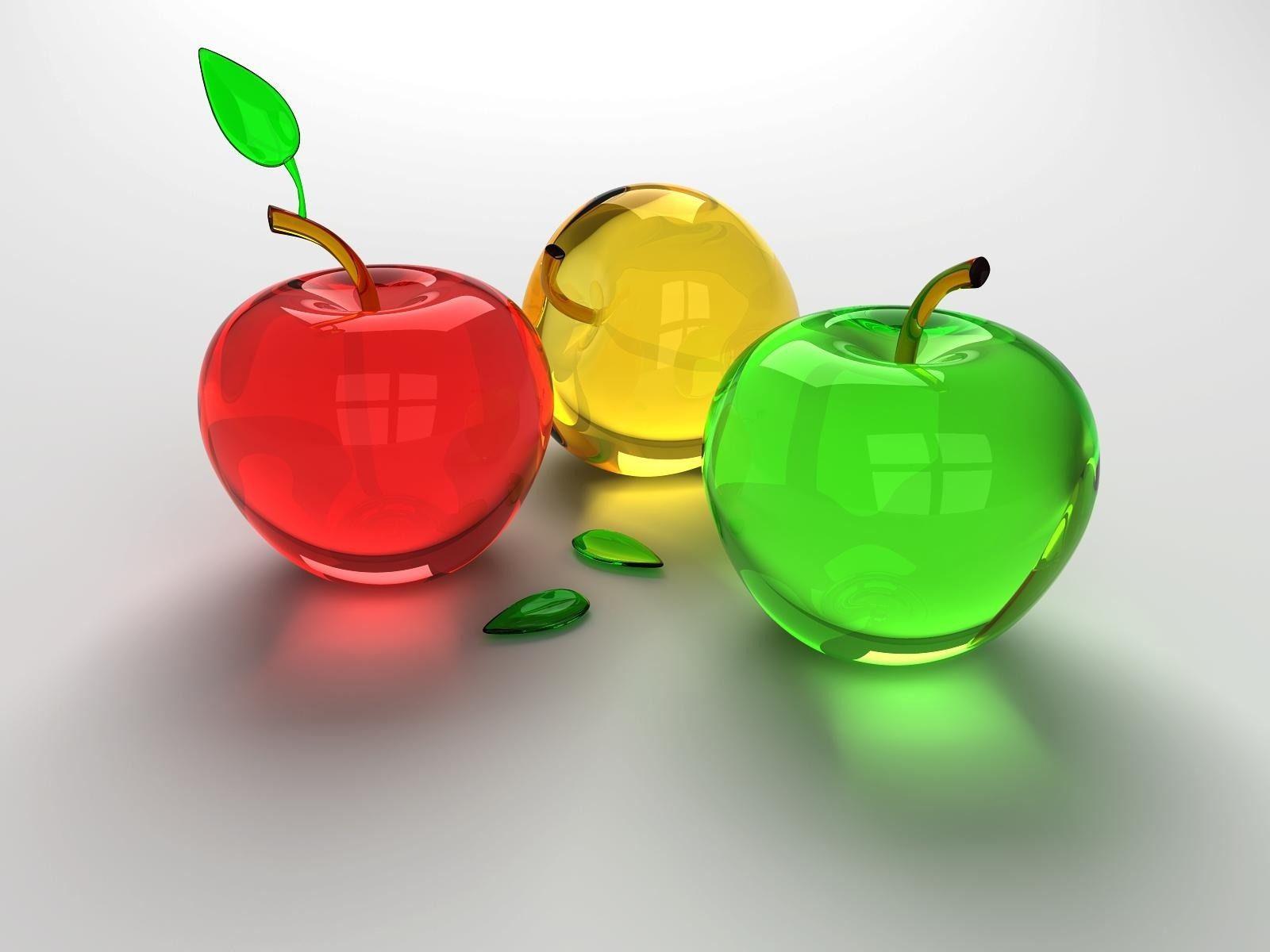 Dimensional 3D Glass Apples desktop wallpaper nr 54441 by 1600x1200