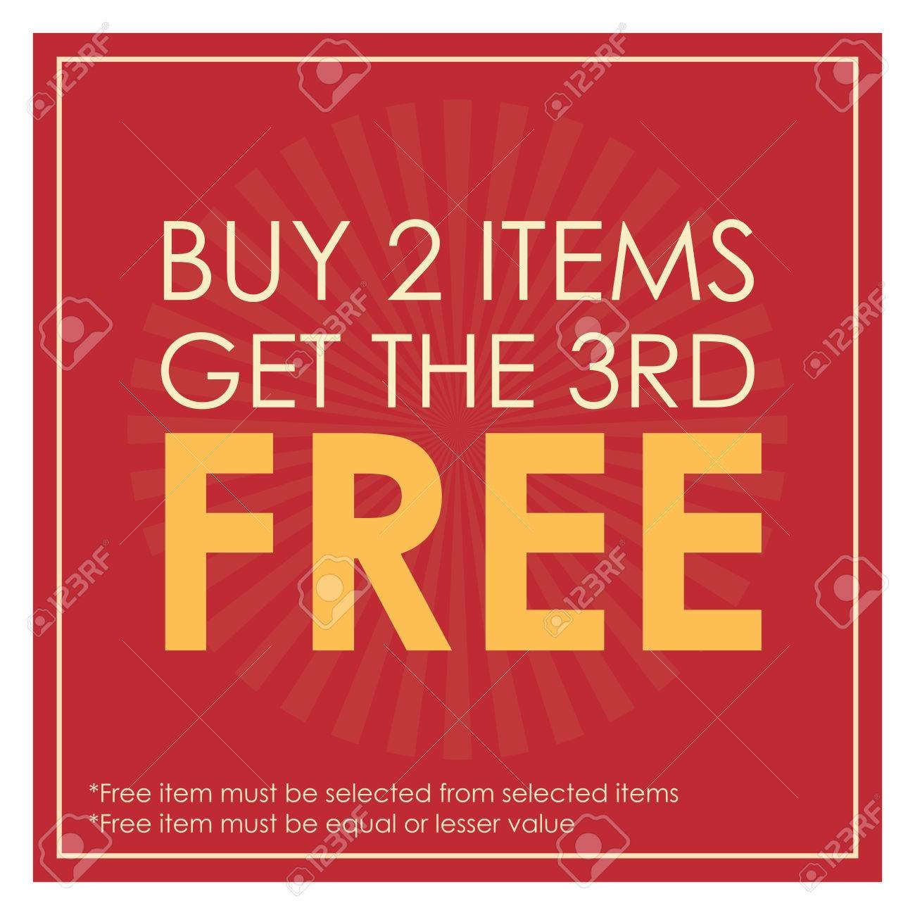 Red Square Buy 2 Items Get The 3rd Poster Leaflet Handbill 1300x1300