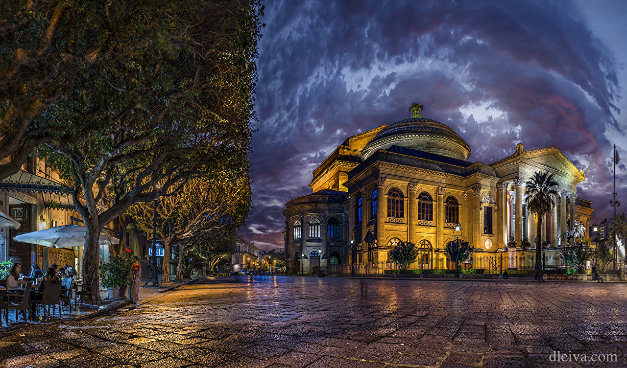 Photos Italy Teatro Massimo Palermo HDR Street night time Cities 1280x752