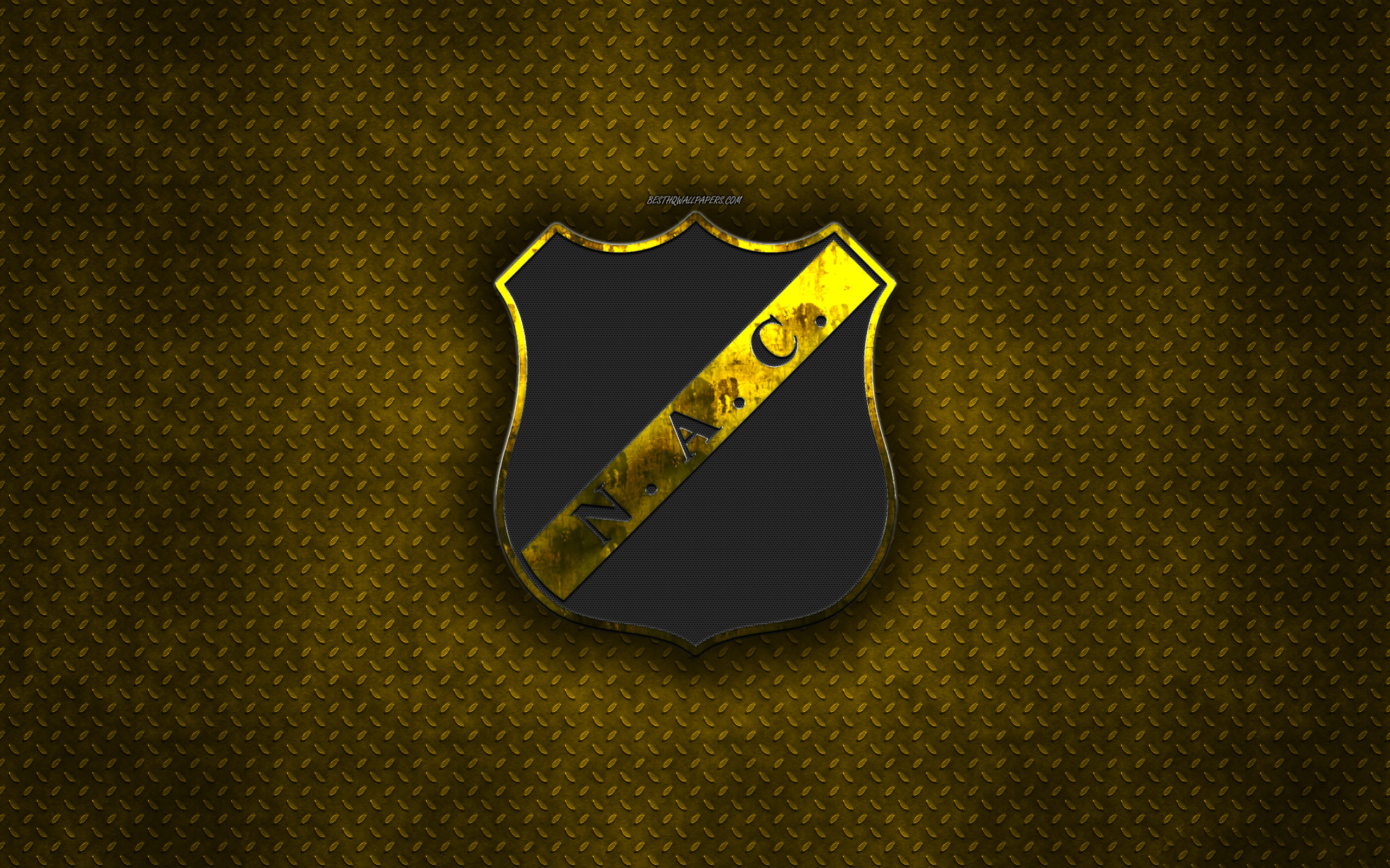 Download wallpapers NAC Breda Dutch football club yellow metal 2560x1600