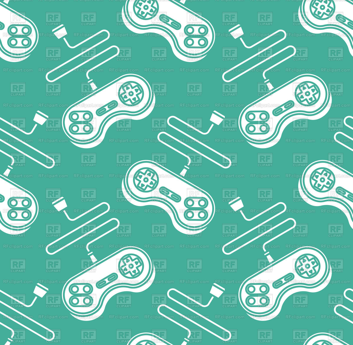 Joystick seamless pattern on green background Vector Image of 1200x1174