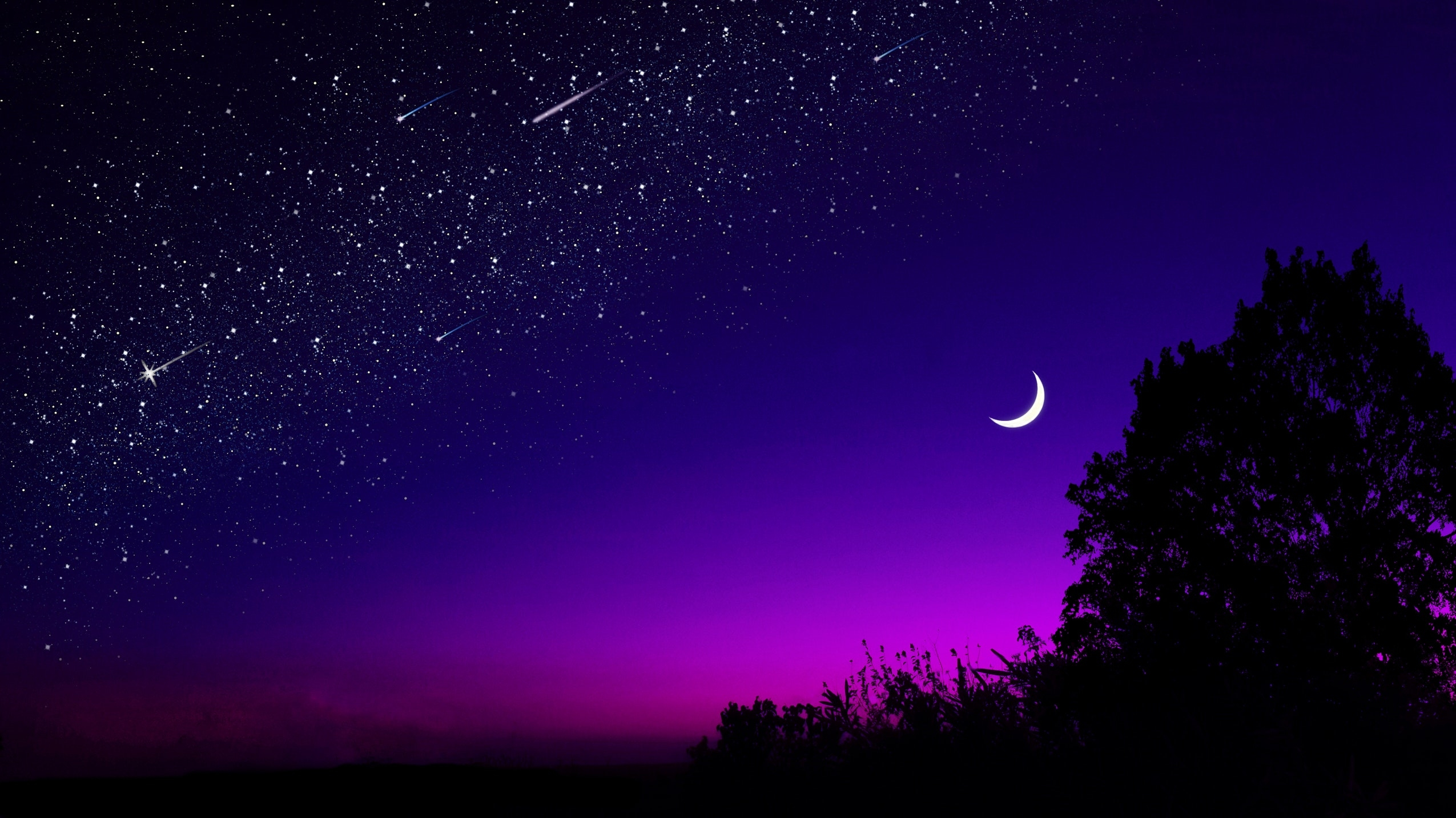 Half Moon Starry Night Wallpaper HD Nature 4K Wallpapers Images 2550x1434