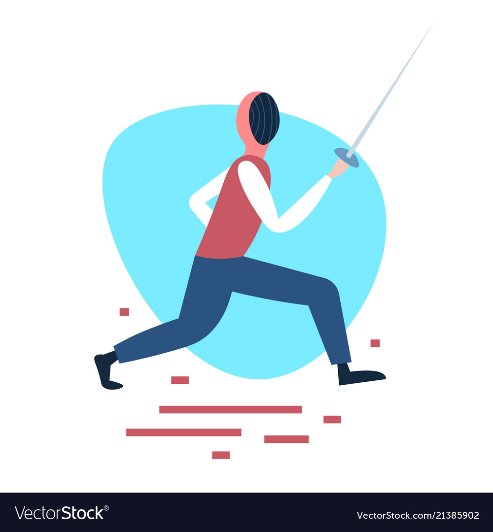 Fencing man training swordsman white background Vector Image 1000x1080