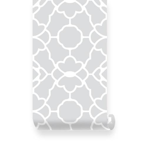 Large Trellis Pattern Grey Fabric Wallpaper   Pinknbluebabycom 500x500
