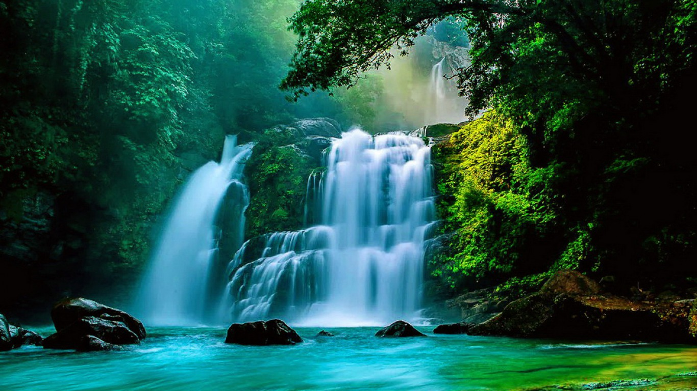 Tropical Waterfall Computer Wallpapers Desktop Backgrounds 1366x768