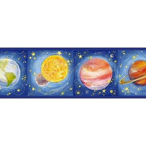 Blue Solar System Wallpaper Border Kitchen Dining 500x500