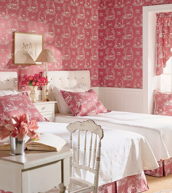 This beautiful Hooked on Toile girls room was featured on Hooked 550x620