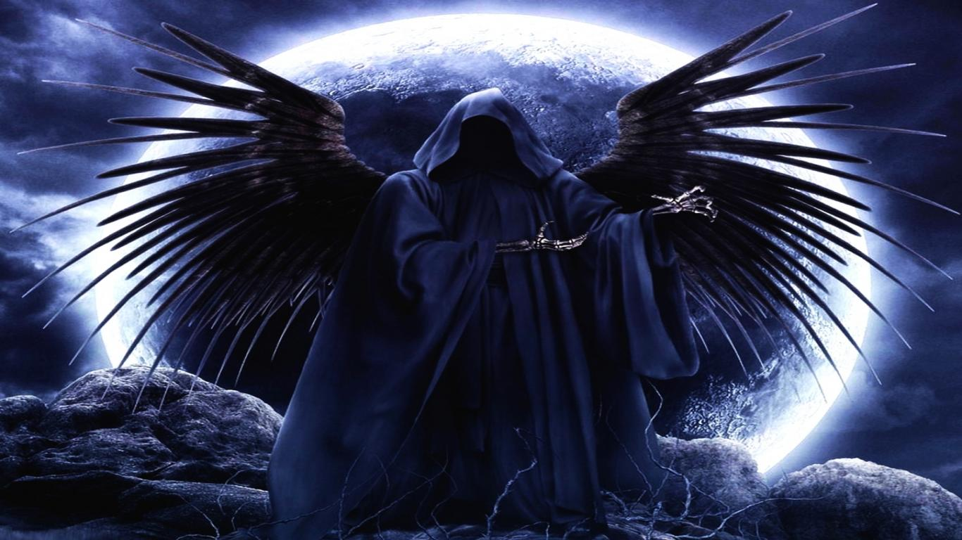 Dark Angel And Blue Moon HD Wallpaper Picture For Your PC Laptop 1366x768