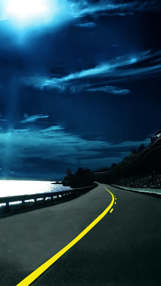 iphone 5 wallpapers road blue   8000   The Wondrous Pics 640x1136