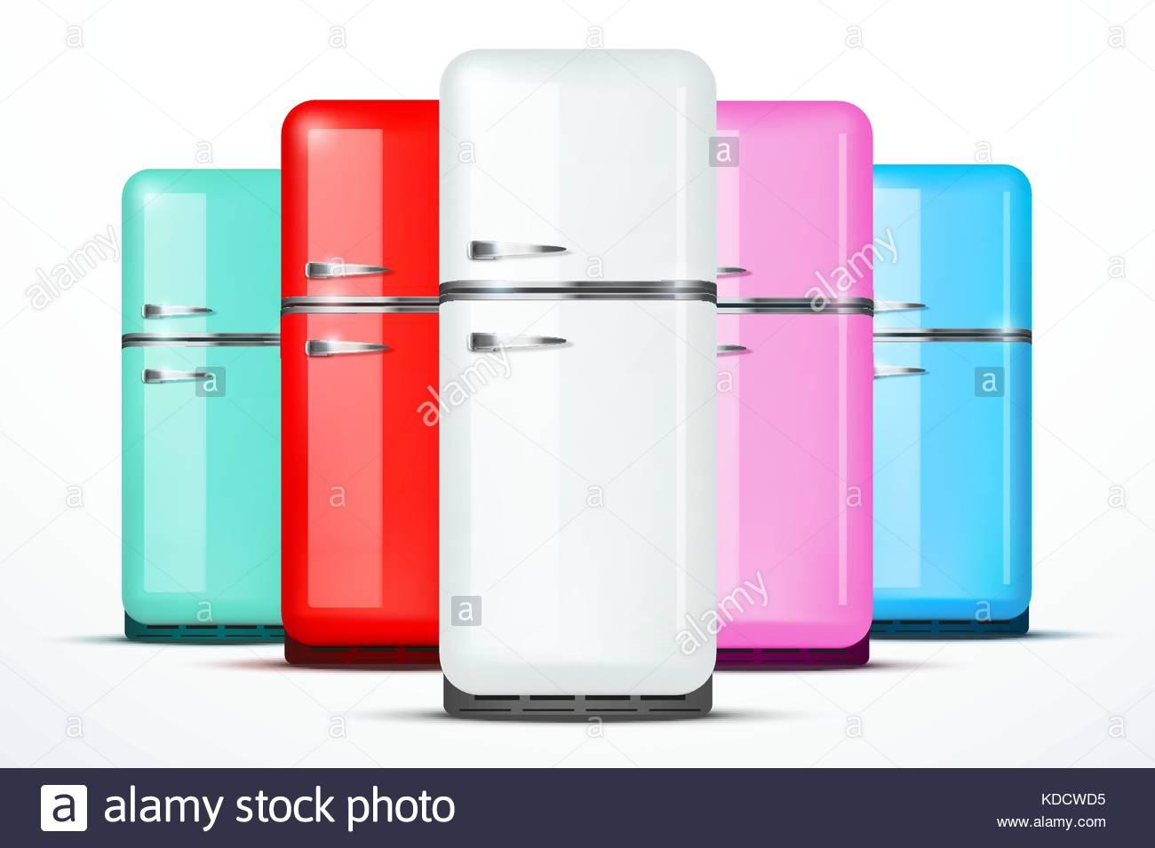 Set of Fridge refrigerator Vector isolated on white background 1300x955