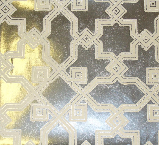foil wallpaper on Cream Flock Design Wallpaper Silver Metallic Foil ...