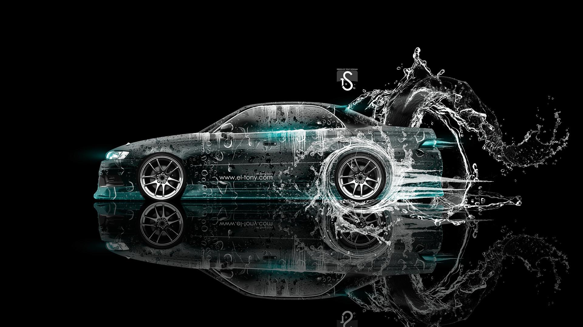 Toyota Mark 2 JZX90 JDM Water Drift 2013 Azure Neon HD Wallpapers 1920x1080