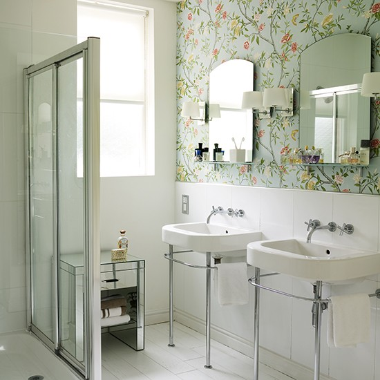 Beautiful Bathroom Wallpaper Shower Room Ideas Photo 550x550