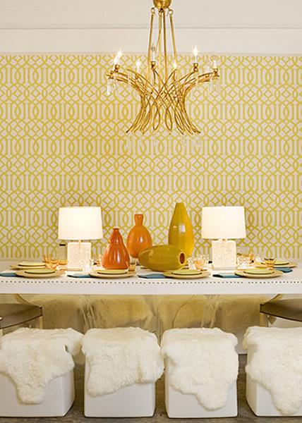 room design with brass chandelier yellow imperial trellis wallpaper 428x600
