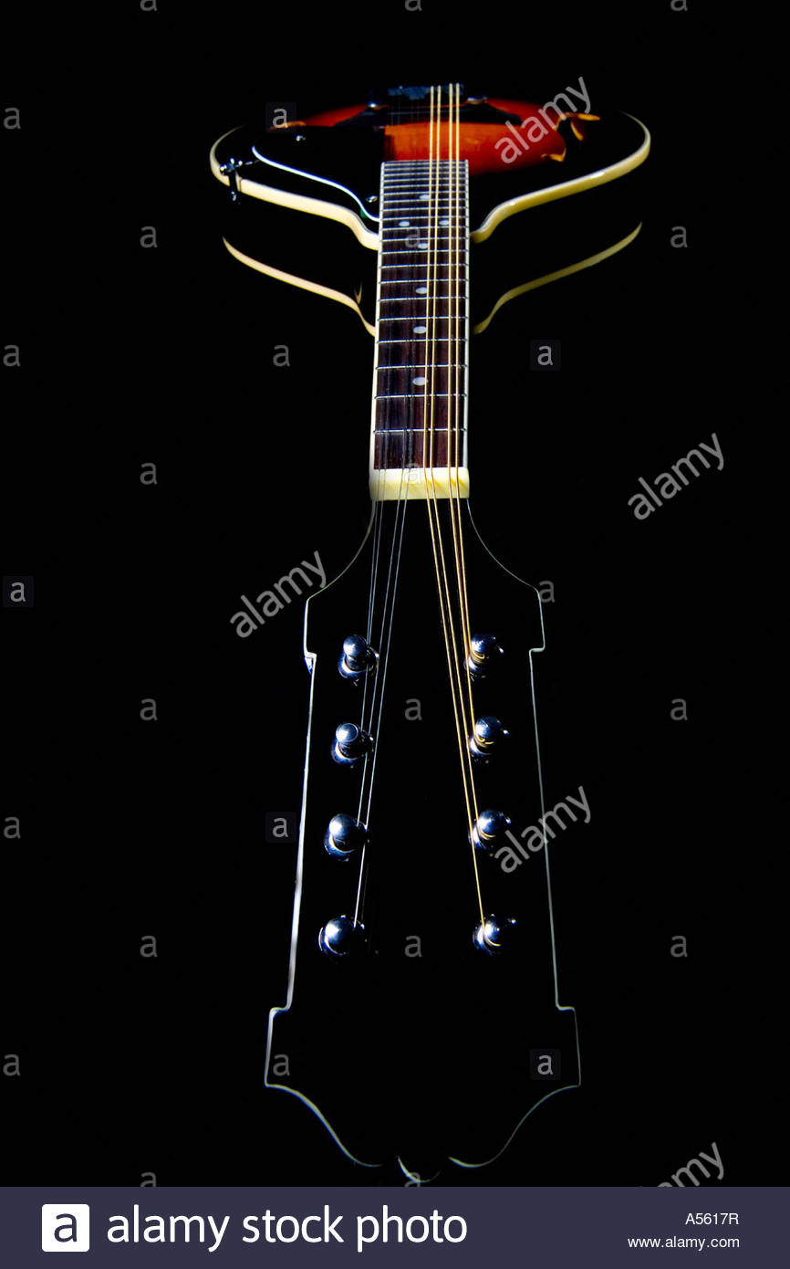 wide angle view of mandolin on black background Stock Photo 866x1390