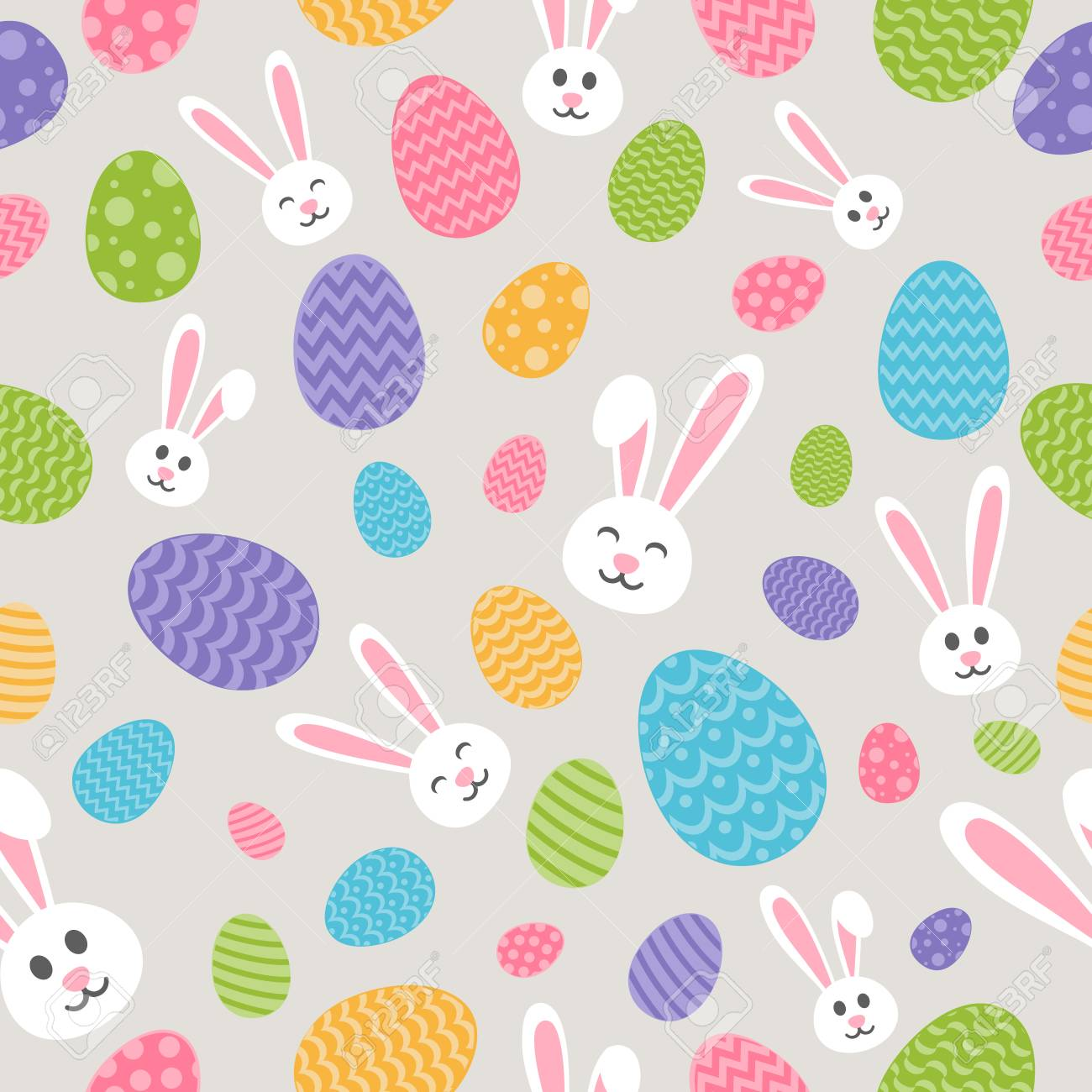 Concept Of Easter Wallpaper With Bunnies And Eggs Seamless 1300x1300