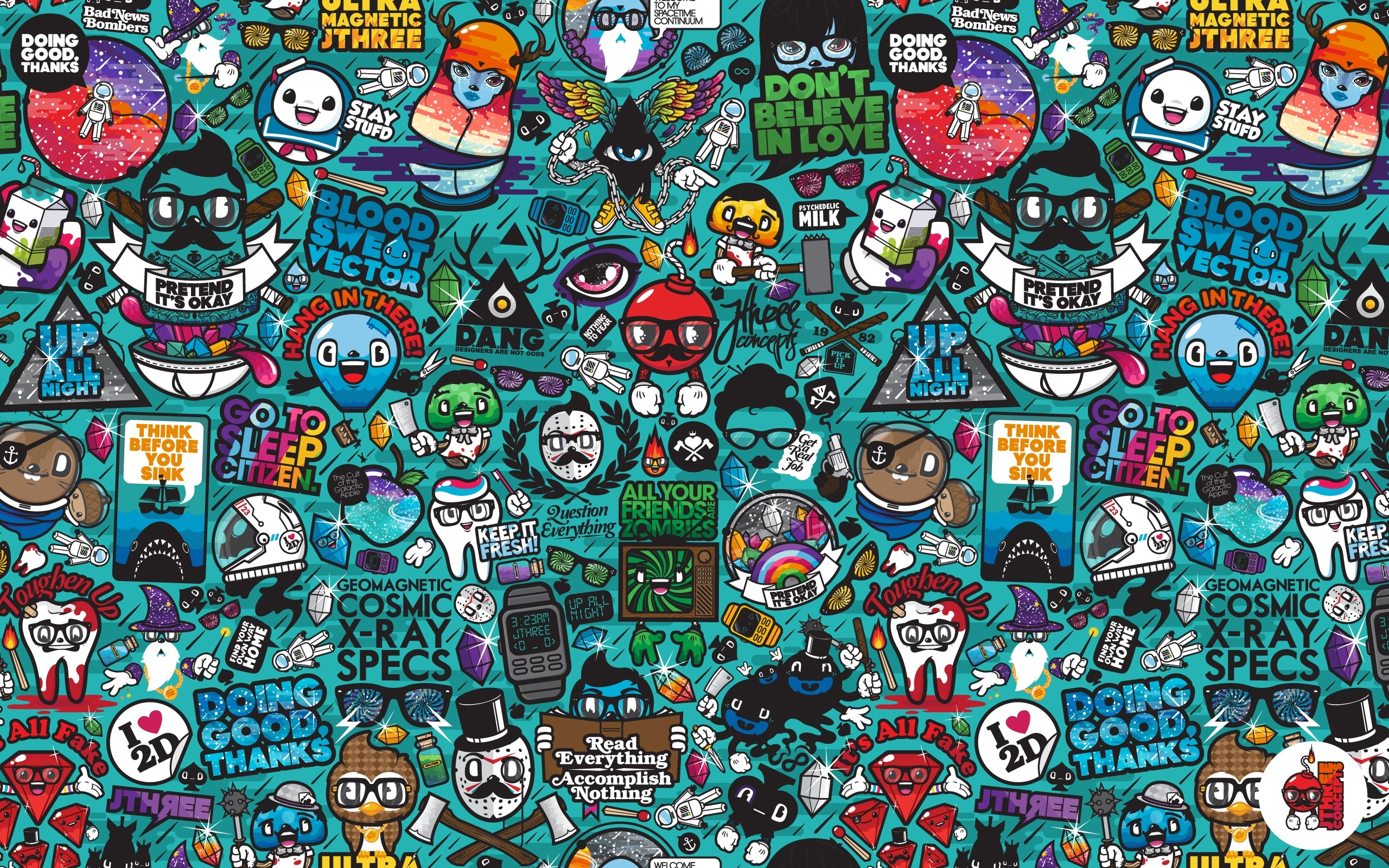 Wallpaper drawings diversity characters signs colorful 2560x1600