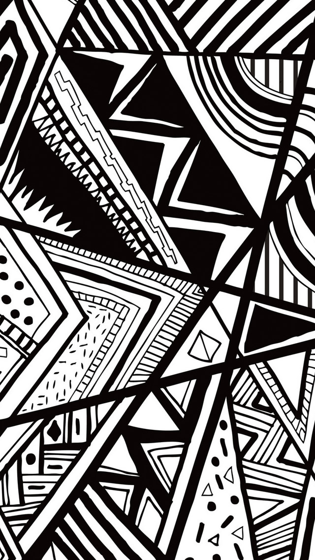 Black And White Doodle iPhone 5s wallpap 640x1136