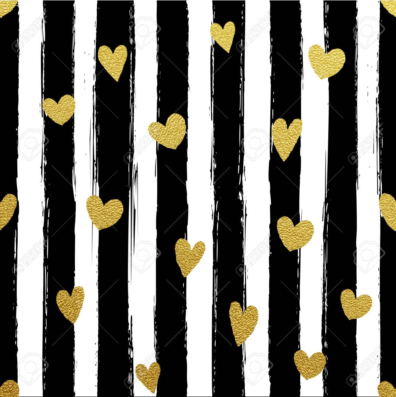 Glitter Gold Striped Wallpaper Paint Brush Strokes Background 1298x1300