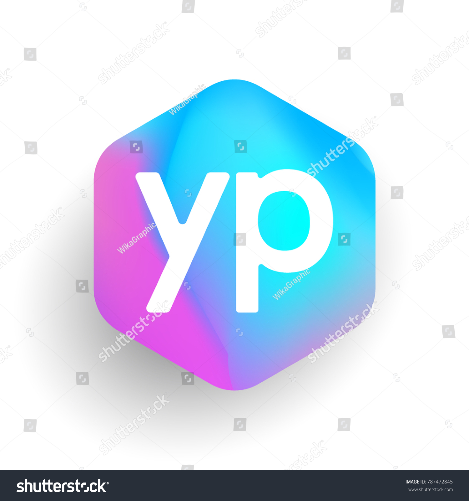 Letter YP Logo Hexagon Shape Colorful Stock Vector Royalty 1500x1600