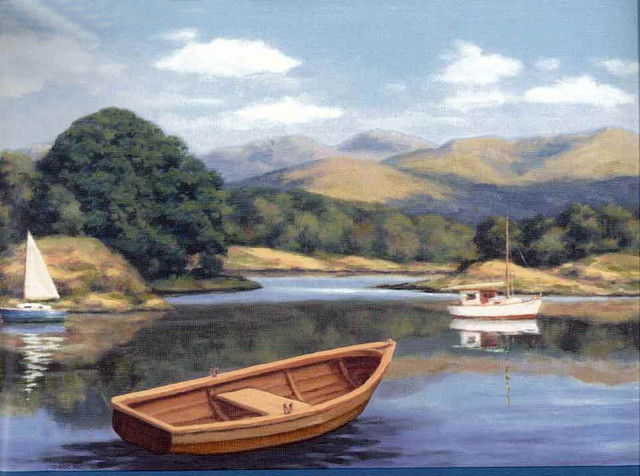 Lake Brown Boat Wallpaper Border traditional wallpaper 640x476